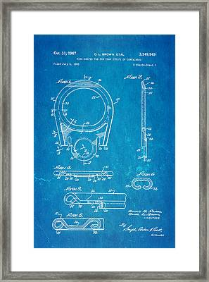 Brown Can Ring Pull Patent Art 1967 Blueprint Framed Print