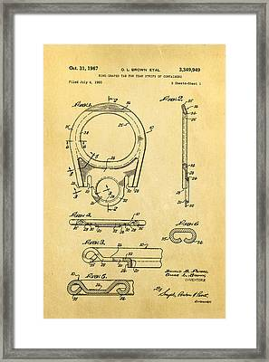 Brown Can Ring Pull Patent Art 1967 Framed Print by Ian Monk