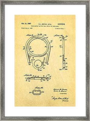 Brown Can Ring Pull Patent Art  3 1967 Framed Print by Ian Monk