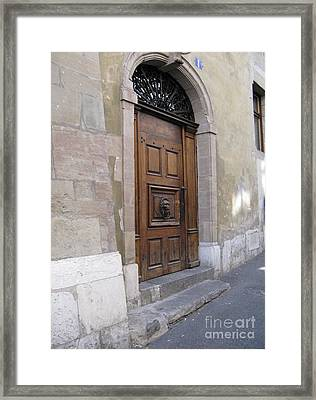 Framed Print featuring the photograph Brown Door by Arlene Carmel