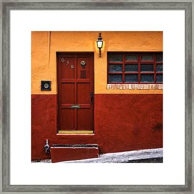 Brown Door In Mexico Framed Print