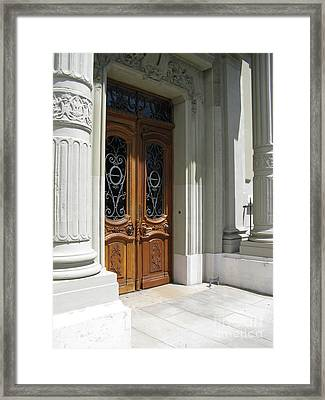 Framed Print featuring the photograph Brown Doors by Arlene Carmel