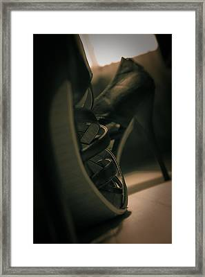 Brown High Heels Stylish Shoes Framed Print