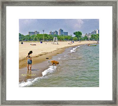 Brown Lab On The Lake Framed Print by Skyler Tipton