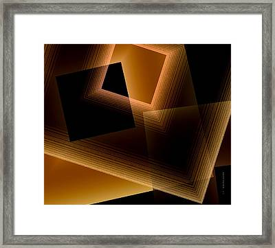 Brown Lines In Geometric Art Framed Print by Mario Perez