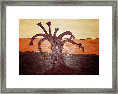 Brown Ochre Green Framed Print by Lois Picasso