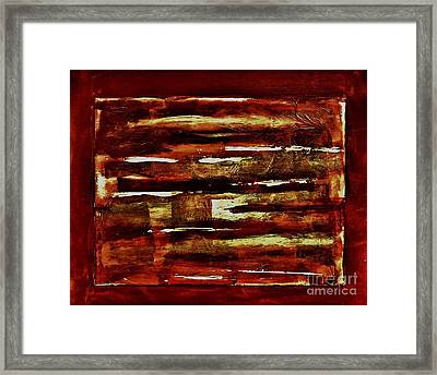 Brown Red And Golds Abstract Framed Print by Marsha Heiken