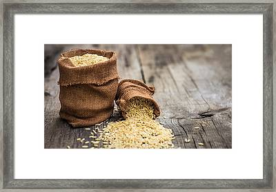 Brown Rice Bags Framed Print by Aged Pixel
