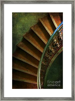 Brown Spiral Stairs With Blue Handrail Framed Print
