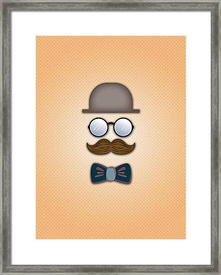 Brown Top Hat Moustache Glasses And Bow Tie Framed Print