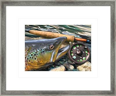 Brown Trout Sunset Framed Print