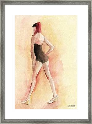 Brown Vintage Bathing Suit 1 Fashion Illustration Art Print Framed Print
