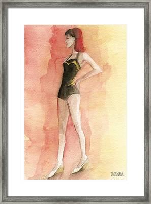 Brown Vintage Bathing Suit 3 Fashion Illustration Art Print Framed Print by Beverly Brown