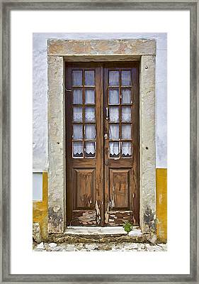 Brown Wood Door With Lace Curtains Framed Print