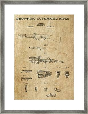 Browning Automatic Rifle 2 Patent Art 1919 Framed Print by Daniel Hagerman