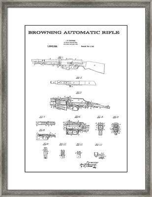 Browning Automatic Rifle 3 Patent Art 1919 Framed Print by Daniel Hagerman
