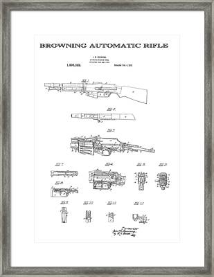 Browning Automatic Rifle 4 Patent Art 1919 Framed Print by Daniel Hagerman