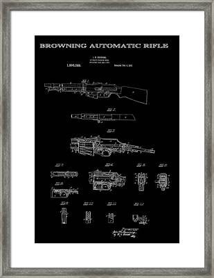Browning Automatic Rifle Patent Art 1919 Framed Print by Daniel Hagerman