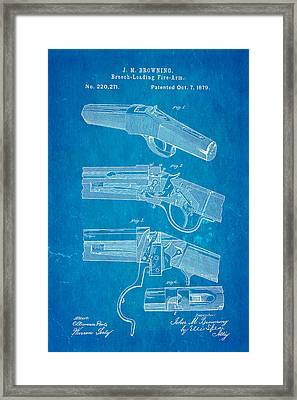 Browning Breech Loader Patent Art 1879 Blueprint Framed Print