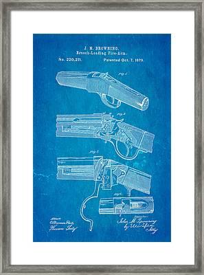Browning Breech Loader Patent Art 1879 Blueprint Framed Print by Ian Monk