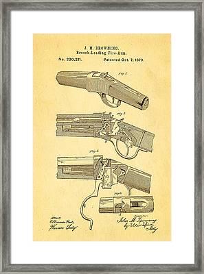 Browning Breech Loader Patent Art 1879 Framed Print by Ian Monk