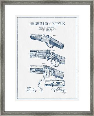 Browning Rifle Patent Drawing From 1921 -  Blue Ink Framed Print by Aged Pixel