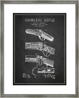 Browning Rifle Patent Drawing From 1921 - Dark Framed Print by Aged Pixel