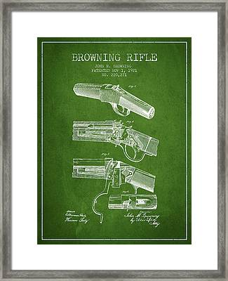 Browning Rifle Patent Drawing From 1921 - Green Framed Print by Aged Pixel