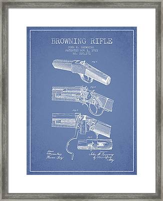 Browning Rifle Patent Drawing From 1921 - Light Blue Framed Print by Aged Pixel