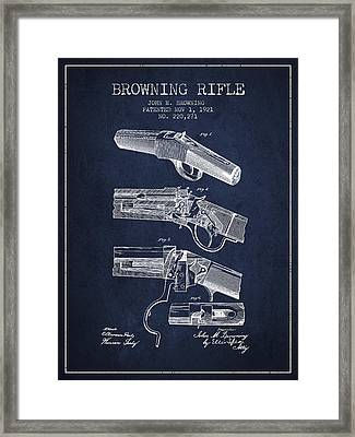 Browning Rifle Patent Drawing From 1921 - Navy Blue Framed Print