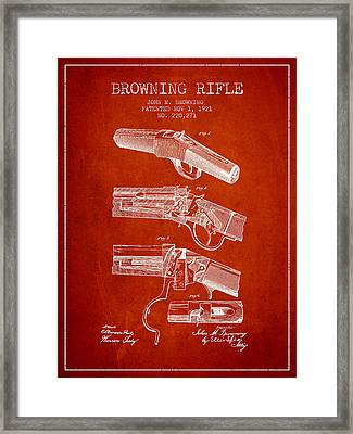 Browning Rifle Patent Drawing From 1921 - Red Framed Print by Aged Pixel