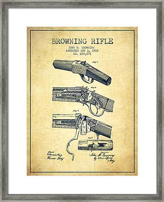 Browning Rifle Patent Drawing From 1921 - Vintage Framed Print by Aged Pixel