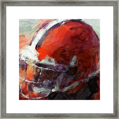 Browns Art Helmet Abstract Framed Print by David G Paul