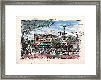 Brown's Barber Shop Framed Print