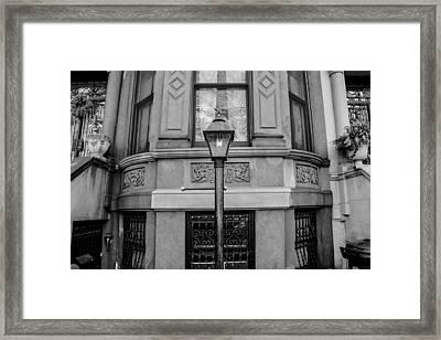 Brownstone In Park Slope Brooklyn In Black And White Framed Print by Priyanka Ravi