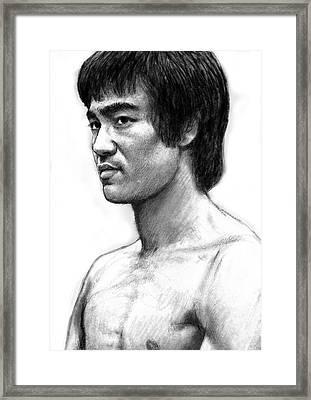 Bruce Lee Art Drawing Sketch Portrait Framed Print by Kim Wang
