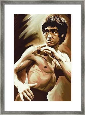 Bruce Lee Artwork Framed Print