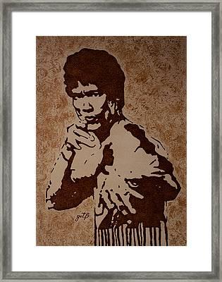 Bruce Lee Original Coffee Painting Framed Print by Georgeta Blanaru