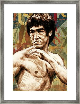 Bruce Lee - Stylised Pop Art Drawing Portrait Poster  Framed Print by Kim Wang
