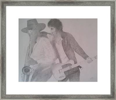 Bruce Springsteen And Clarence Clemons Framed Print by Jami Cirotti