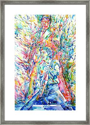 Bruce Springsteen And Clarence Clemons Watercolor Portrait Framed Print