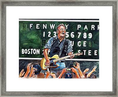 Bruce Springsteen At Fenway Park Framed Print