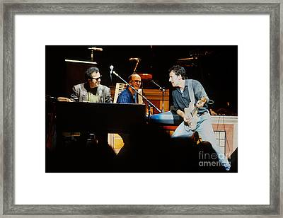 Bruce Springsteen Billy Joel And Paul Schaffer Framed Print by Chuck Spang