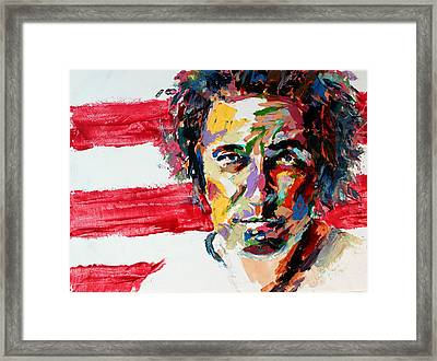 Bruce Springsteen Framed Print by Derek Russell