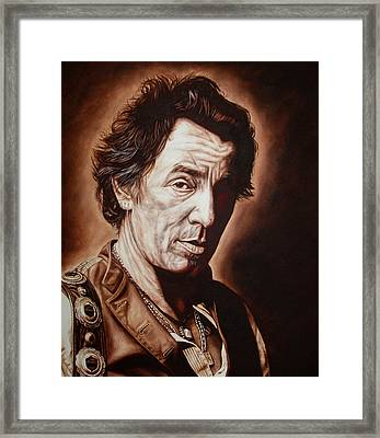 Bruce Springsteen Framed Print by Mark Baker