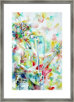 Bruce Springsteen Playing The Guitar Watercolor Portrait.1 Framed Print by Fabrizio Cassetta