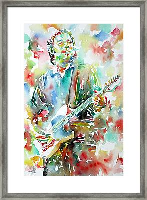 Bruce Springsteen Playing The Guitar Watercolor Portrait.3 Framed Print by Fabrizio Cassetta