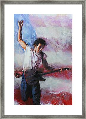 Bruce Springsteen The Boss Framed Print by Viola El