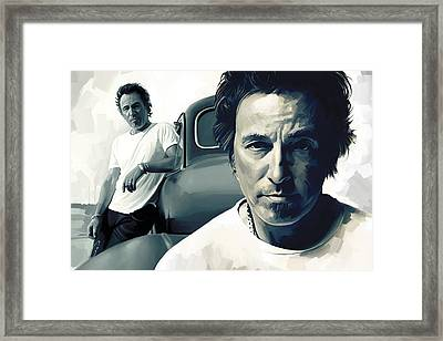 Bruce Springsteen The Boss Artwork 1 Framed Print by Sheraz A