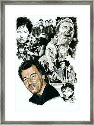 Bruce Springsteen Through The Years Framed Print by Ken Branch